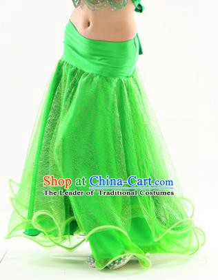 Indian Traditional Belly Dance Performance Costume Green Skirt Classical Oriental Dance Clothing for Kids