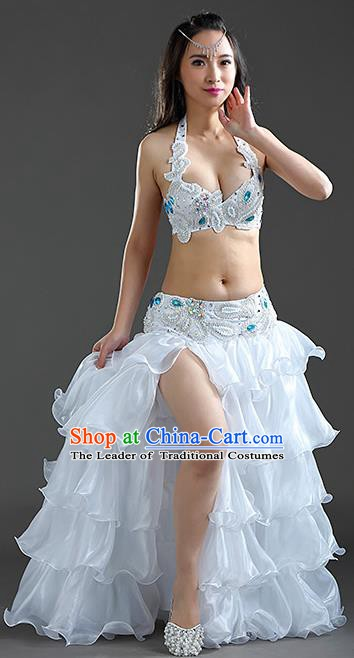 Indian Traditional Belly Dance Performance White Dress Classical Oriental Dance Costume for Women