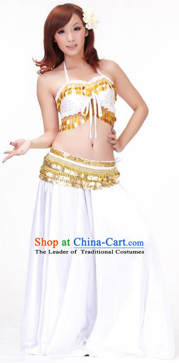 Indian Belly Dance White Dress Classical Traditional Oriental Dance Performance Costume for Women