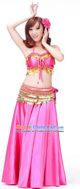 Indian Belly Dance Rosy Dress Classical Traditional Oriental Dance Performance Costume for Women