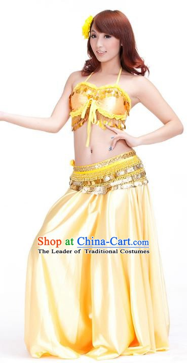 Indian Belly Dance Yellow Dress Classical Traditional Oriental Dance Performance Costume for Women