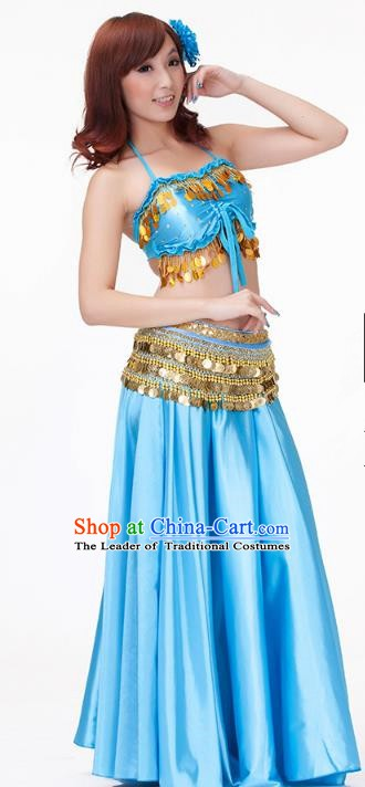 Indian Belly Dance Blue Dress Classical Traditional Oriental Dance Performance Costume for Women