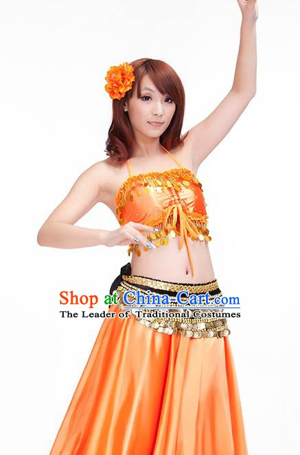 Indian Belly Dance Orange Dress Classical Traditional Oriental Dance Performance Costume for Women