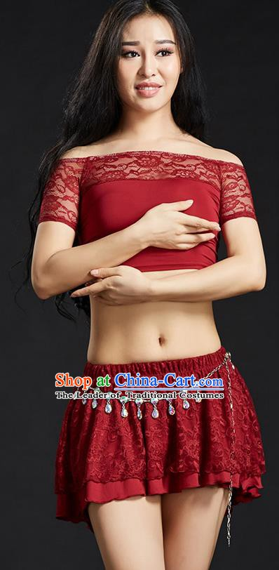 Indian Belly Dance Red Lace Dress Classical Traditional Oriental Dance Performance Costume for Women