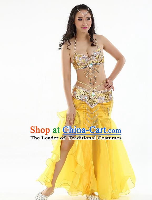 Top Indian Belly Dance India Traditional Raks Sharki Yellow Dress Oriental Dance Costume for Women