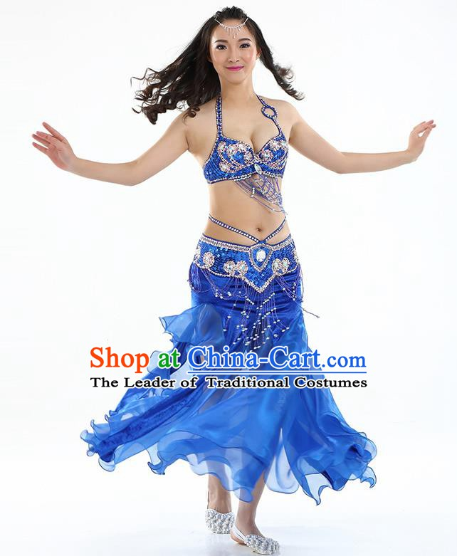Top Indian Belly Dance India Traditional Raks Sharki Royalblue Dress Oriental Dance Costume for Women