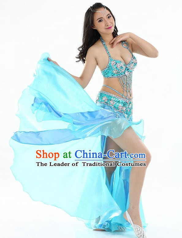 Top Indian Belly Dance India Traditional Raks Sharki Blue Dress Oriental Dance Costume for Women