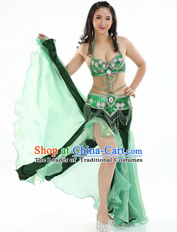 Top Indian Belly Dance India Traditional Raks Sharki Green Dress Oriental Dance Costume for Women