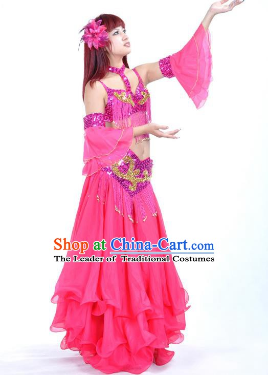 Asian Indian Belly Dance Costume Rosy Dress Stage Performance Oriental Dance Clothing for Women