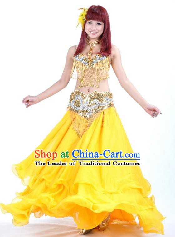 Asian Indian Belly Dance Costume Yellow Dress Stage Performance Oriental Dance Clothing for Women