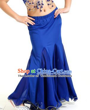 Asian Indian Belly Dance Royalblue Fishtail Skirt Stage Performance Oriental Dance Clothing for Kids