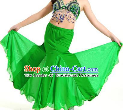 Asian Indian Belly Dance Green Fishtail Skirt Stage Performance Oriental Dance Clothing for Kids