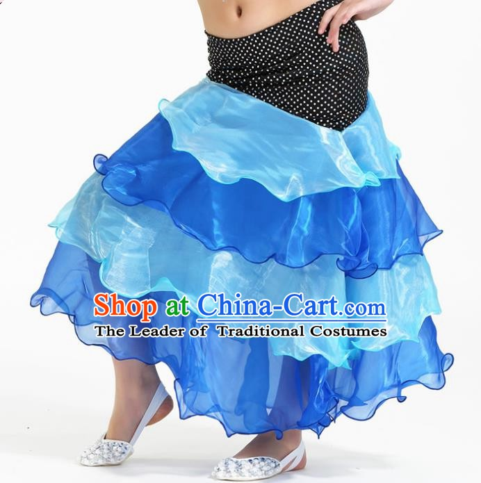 Asian Indian Belly Dance Blue Skirt Stage Performance Oriental Dance Clothing for Kids