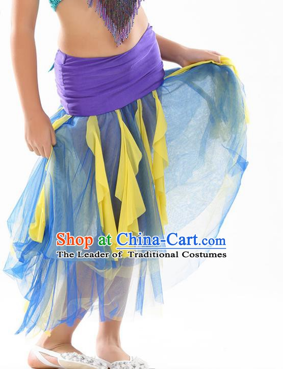 Asian Indian Belly Dance Blue Veil Skirt Stage Performance Oriental Dance Clothing for Kids