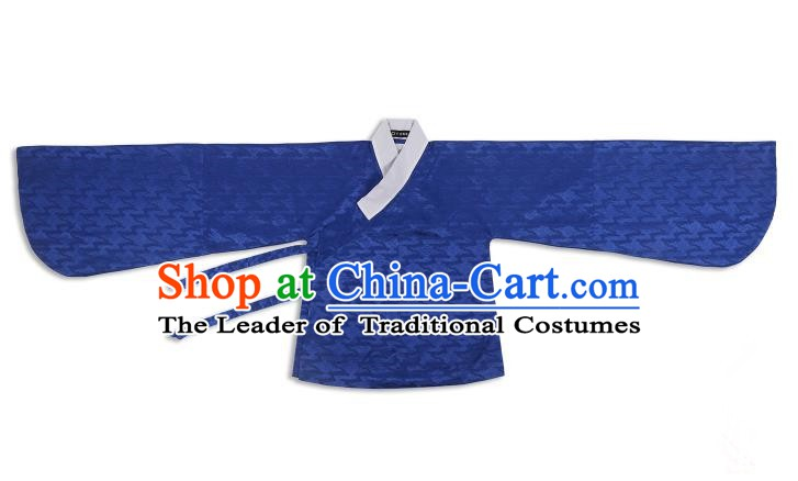 Chinese Ancient Ming Dynasty Costume Palace Lady Blue Blouse Hanfu Clothing for Women
