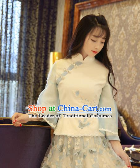 Traditional Chinese National Costume Cheongsam Blouse Tangsuit Embroidered Shirts for Women
