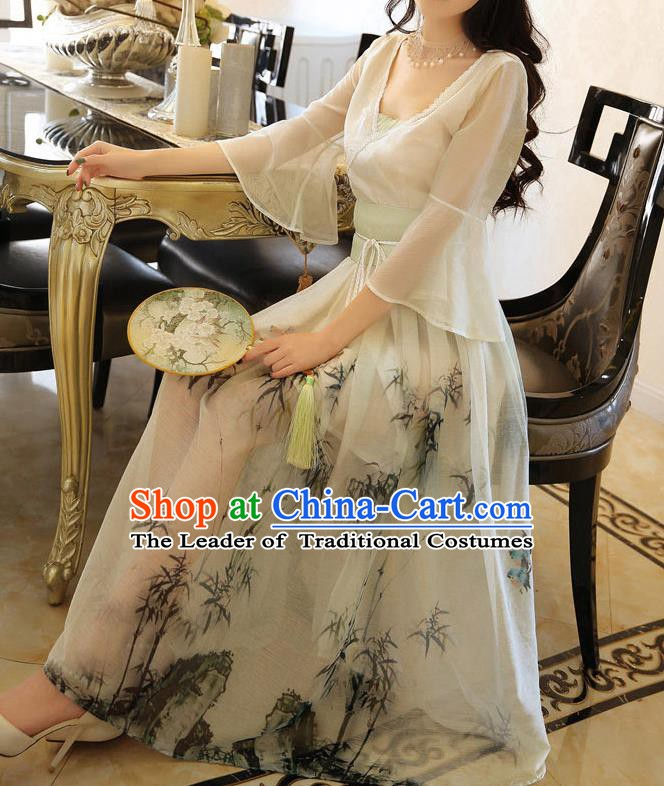 Traditional Chinese National Costume Painting Bamboo Dress Tangsuit Clothing for Women