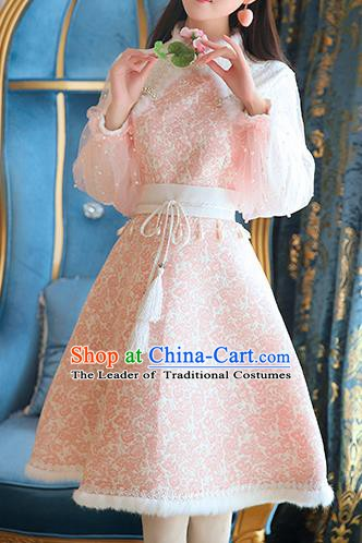 Traditional Chinese National Pink Lace Qipao Dress Costume Tangsuit Cheongsam Clothing for Women