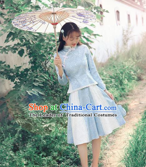 Traditional Chinese National Qipao Dress Costume Tangsuit Cheongsam Blouse and Skirt for Women