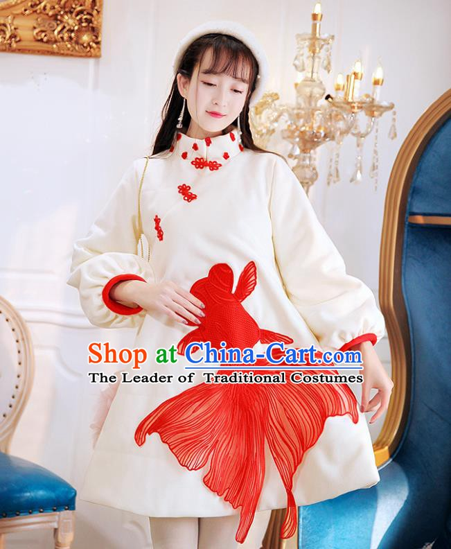 Traditional Chinese National Goldfish Qipao Dress Costume Tangsuit Cheongsam Clothing for Women