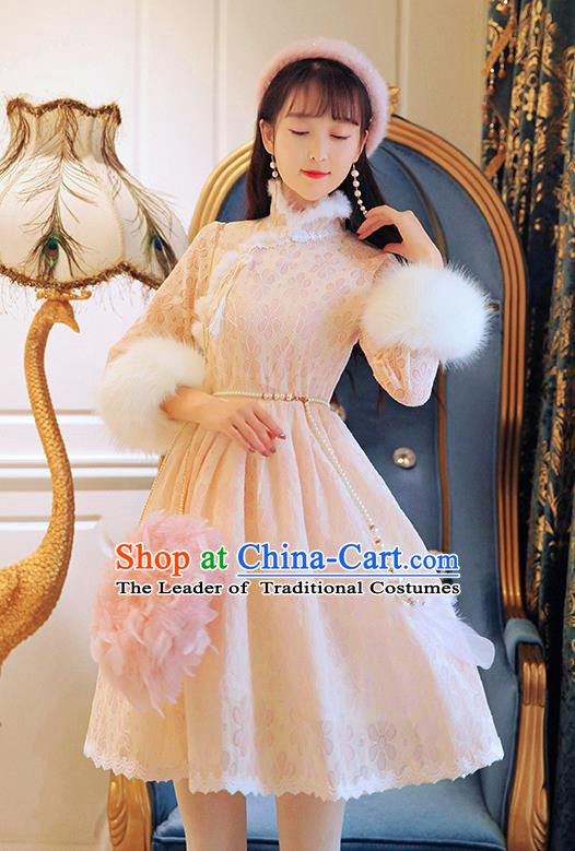 Traditional Chinese National Embroidered Qipao Dress Costume Tangsuit Pink Lace Cheongsam Clothing for Women