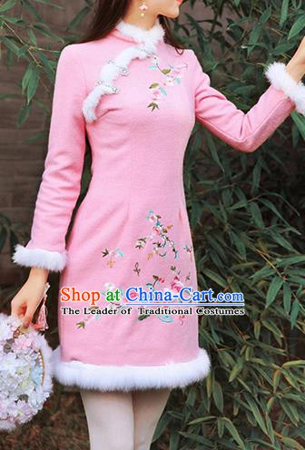 Traditional Chinese National Embroidered Peony Qipao Dress Costume Tangsuit Pink Cheongsam Clothing for Women