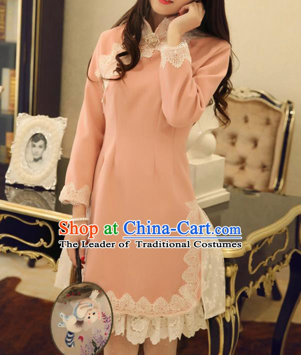 Traditional Chinese National Pink Qipao Dress Costume Tangsuit Cheongsam Clothing for Women