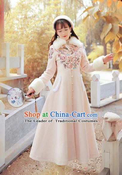 Traditional Chinese National Costume Embroidered Tangsuit Coat Wool Dust Coat for Women