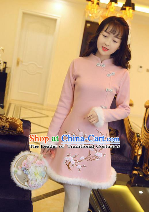 Traditional Chinese National Pink Qipao Dress Tangsuit Embroidered Plum Blossom Cheongsam Clothing for Women