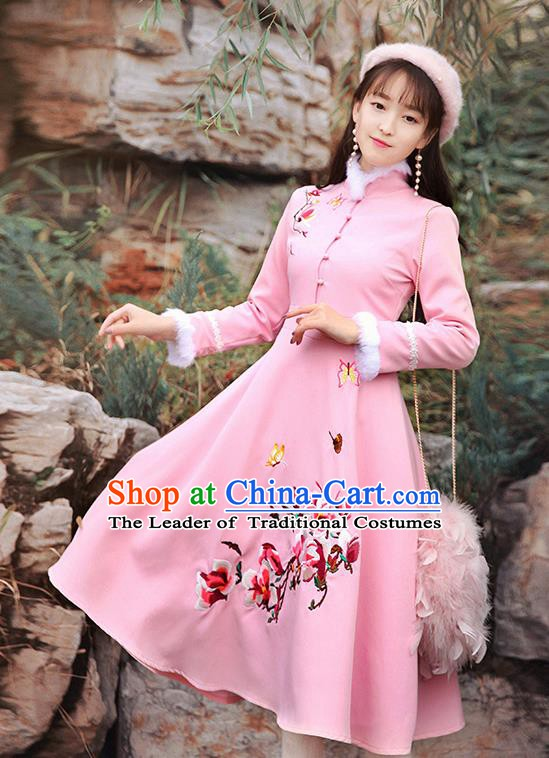 Traditional Chinese National Qipao Dress Tangsuit Embroidered Flowers Cheongsam Clothing for Women
