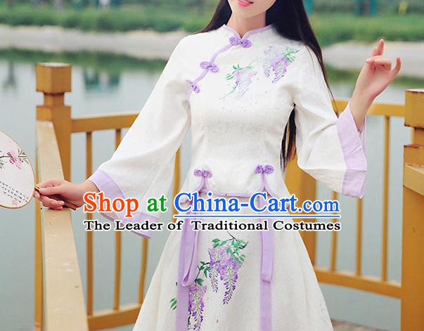 Chinese Traditional Costume Tangsuit Qipao Painting Blouse Cheongsam Shirts for Women