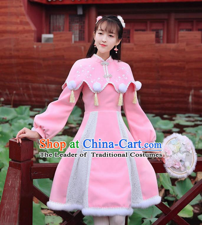 Traditional Chinese National Pink Qipao Dress Tangsuit Embroidered Cheongsam Clothing for Women