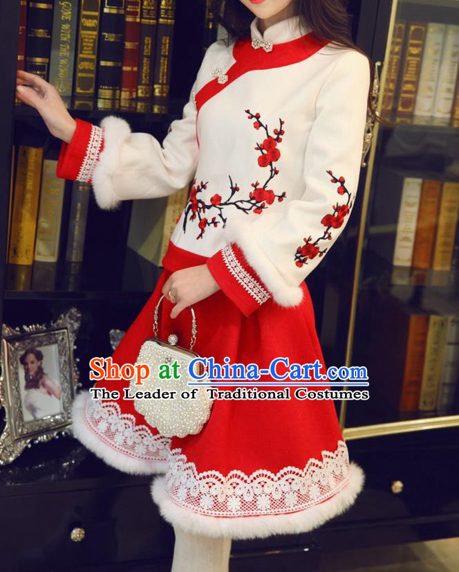 Traditional Chinese National Wool Cheongsam Costume Tangsuit Embroidered Blouse and Red Skirt for Women