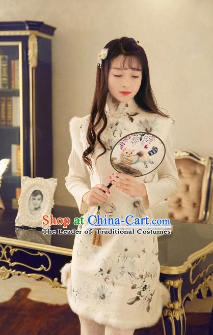 Traditional Chinese National Costume Wool Cheongsam Tangsuit Embroidered Vests Dress for Women