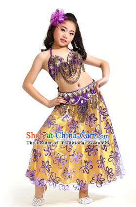 Asian Indian Children Belly Dance Purple Dress Stage Performance Oriental Dance Clothing for Kids