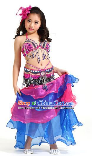Asian Indian Children Belly Dance Rosy and Blue Dress Stage Performance Oriental Dance Clothing for Kids