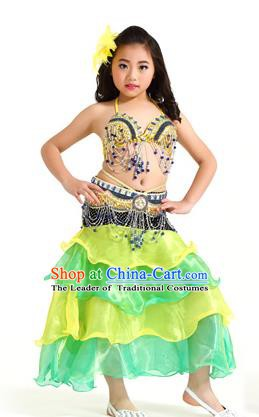 Asian Indian Children Belly Dance Yellow and Green Dress Stage Performance Oriental Dance Clothing for Kids