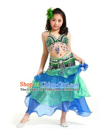 Asian Indian Children Belly Dance Blue and Green Dress Stage Performance Oriental Dance Clothing for Kids