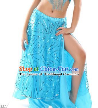Asian Indian Children Belly Dance Blue Bust Skirt Raks Sharki Oriental Dance Clothing for Kids