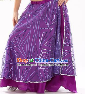 Asian Indian Children Belly Dance Purple Bust Skirt Raks Sharki Oriental Dance Clothing for Kids