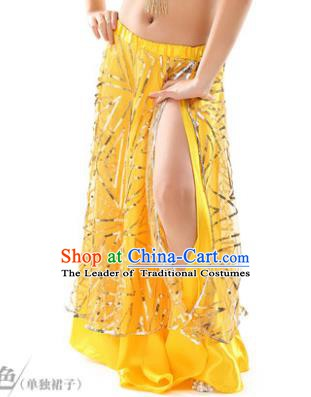 Asian Indian Children Belly Dance Yellow Bust Skirt Raks Sharki Oriental Dance Clothing for Kids