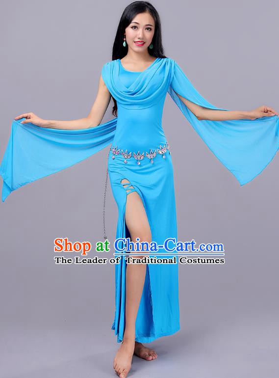 Asian Indian Belly Dance Blue Dress Stage Performance Oriental Dance Clothing for Women