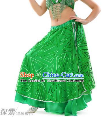 Asian Indian Children Belly Dance Green Bust Skirt Raks Sharki Oriental Dance Clothing for Kids