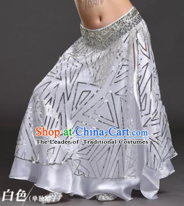 Asian Indian Children Belly Dance White Bust Skirt Raks Sharki Oriental Dance Clothing for Kids