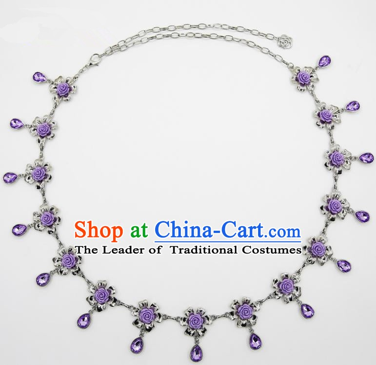 Indian Belly Dance Purple Crystal Rose Waist Chain Accessories Waistband India Raks Sharki Belts for Women