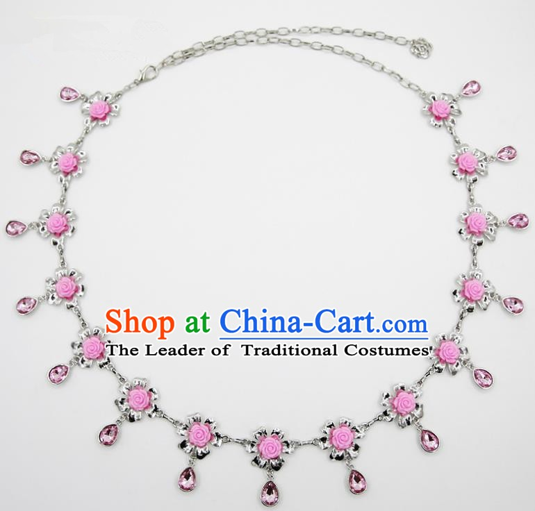 Indian Belly Dance Pink Crystal Rose Waist Chain Accessories Waistband India Raks Sharki Belts for Women