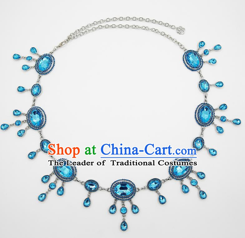 Indian Belly Dance Blue Crystal Waist Chain Accessories Waistband India Raks Sharki Belts for Women
