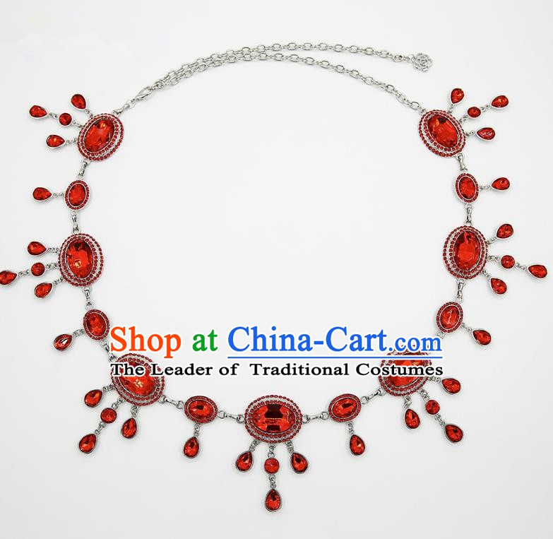 Indian Belly Dance Red Crystal Waist Chain Accessories Waistband India Raks Sharki Belts for Women