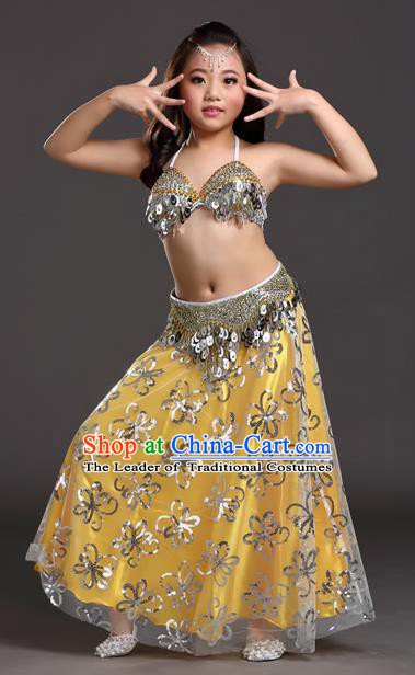 Traditional Indian Children Belly Dance Golden Dress Raks Sharki Oriental Dance Clothing for Kids