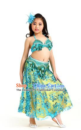 Traditional Indian Children Belly Dance Blue Dress Raks Sharki Oriental Dance Clothing for Kids